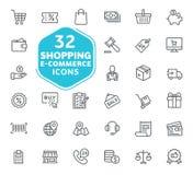 E-kommers, online-shopping och leveransbeståndsdel stock illustrationer