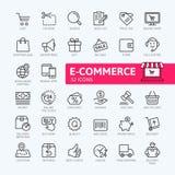 E-kommers, online-shopping och uppsättning för symbol för leveransbeståndsdelrengöringsduk - översiktssymbolsuppsättning stock illustrationer