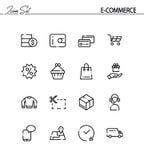 E-kommers plan symbolsuppsättning stock illustrationer