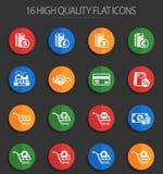 E-kommers 16 plana symboler vektor illustrationer