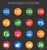 E-kommers 16 plana symboler royaltyfri illustrationer
