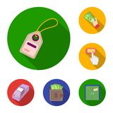 E-kommers, plana symboler för köp och för försäljning i uppsättningsamlingen för design Rengöringsduk för materiel för handel- oc stock illustrationer