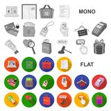 E-kommers, plana symboler för köp och för försäljning i uppsättningsamlingen för design Rengöringsduk för materiel för handel- oc royaltyfri illustrationer