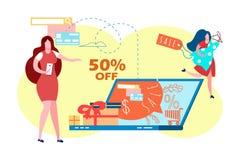 E-kommers Sale, plan vektorillustration f stock illustrationer