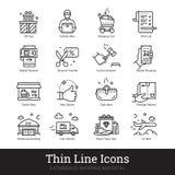 E-kommers shopping, linjära symboler för återförsäljnings- affär vektor illustrationer