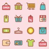 E-kommers shoppingsymbol Arkivbild