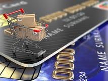 E-kommers Shoppingvagn och kreditkortar royaltyfri illustrationer