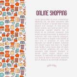 E-kommers som shoppar begrepp med den tunna linjen symboler vektor illustrationer
