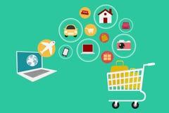 E-kommers Ställ in symbolsonline-shopping royaltyfri illustrationer