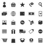 E-kommers symboler på vit bakgrund stock illustrationer