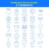 E-kommers symboler - packe Futuro blå för 25 symbol stock illustrationer