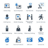 E-kommers symbolsuppsättning 1 - blå serie Royaltyfri Foto