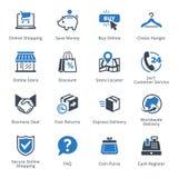 E-kommers symbolsuppsättning 5 - blå serie Royaltyfria Foton