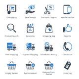 E-kommers symbolsuppsättning 4 - blå serie Arkivbild