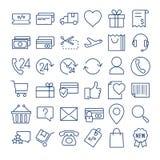 E-kommers tunn linje symbolsuppsättning Royaltyfri Fotografi
