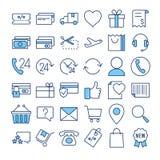 E-kommers tunn linje uppsättning för färgvektorsymboler royaltyfri illustrationer