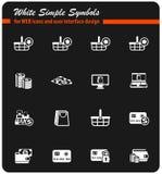E-kommers vit symbolsuppsättning stock illustrationer