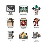 E-kommers websitesymbol stock illustrationer