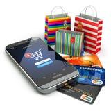 E-kommers white för trolley för internetmusonline-shopping Mobiltelefon shoppingpåse royaltyfri illustrationer