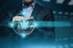E-komrets tillfogar till begreppet för internet för teknologi för vagnsdet online-shoppingaffären Arkivbild