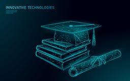 E-lära avlägset doktorand- certifikatprogrambegrepp Låg poly 3D att framföra avläggande av examenlocket, böcker, polygonal diplom stock illustrationer