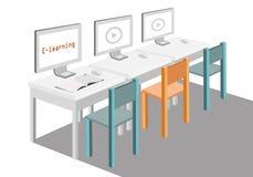 E-lära begrepp med online-utbildning i en rumvektorillustration Arkivfoto