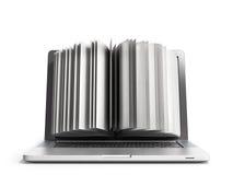 E-lära begreppsboken och bärbara datorn 3d framför på vit Arkivbilder