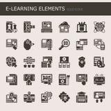 E-lära beståndsdelar stock illustrationer