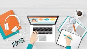E-lära och utbildning royaltyfri illustrationer
