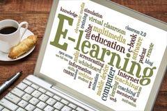 E-lära ordmolnet på bärbara datorn Royaltyfria Foton
