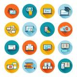E-lära symbolslägenheten stock illustrationer