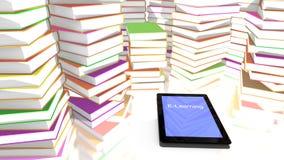 E-lära tabellen mycket av böcker Arkivbild