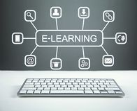 E-lära tangentbordet för begreppsutbildningsinternet lärer ord royaltyfri foto