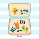 E L'illustrazione mostra gli accessori della spiaggia - il costume da bagno, i vetri, l'asciugamano, cappello illustrazione vettoriale