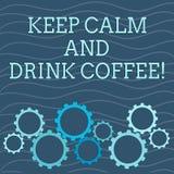 E La exhibición de la foto del negocio anima la demostración para gozar del cafeína stock de ilustración