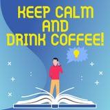 E La foto conceptual anima la demostración para disfrutar de la bebida del cafeína y a relajarse libre illustration