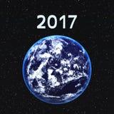 2017 e la terra Fotografie Stock Libere da Diritti