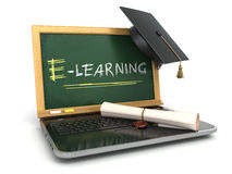 E-laerning education concept. Laptop with chalkboard, mortar boa Stock Images