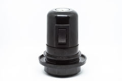 E27 Lamp holder with switch. Black E27 Lamp holder with switch Royalty Free Stock Image