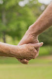 E lderly couple holding hands Royalty Free Stock Photo