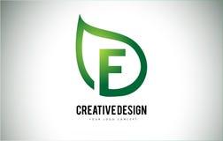 E Leaf Logo Letter Design with Green Leaf Outline Royalty Free Stock Photos