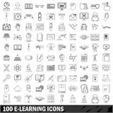 100 e-leaning icons set, outline style Stock Photography