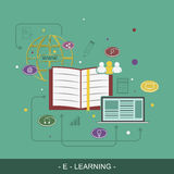 E-Learing flat  illustration concept. Royalty Free Stock Image