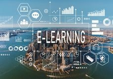E-Learning with aerial view of NY skyline Stock Image