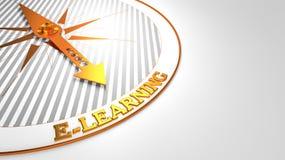 E-Learning auf Weiß mit goldenem Kompass Stockbilder