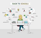 E-learning and back to school illustration of young girl using laptop Stock Image