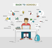 E-learning and back to school illustration of young guy using laptop Royalty Free Stock Images