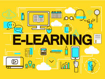 E-learning banner concept. Online Education. Thin Line icons. Vector Illustration.For web banners and promotional materials. Stock Images