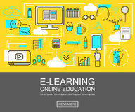 E-learning banner concept. Online Education. Thin Line icons. Vector Illustration.For web ,network, site, social media. Stock Images