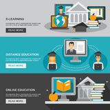 E-learning Banner Set Royalty Free Stock Images